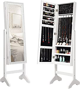 Giantex Mirrored Jewelry Cabinet Armoire with Mirror w/Resin Diamond Design Standing Storage Organizer Box, White