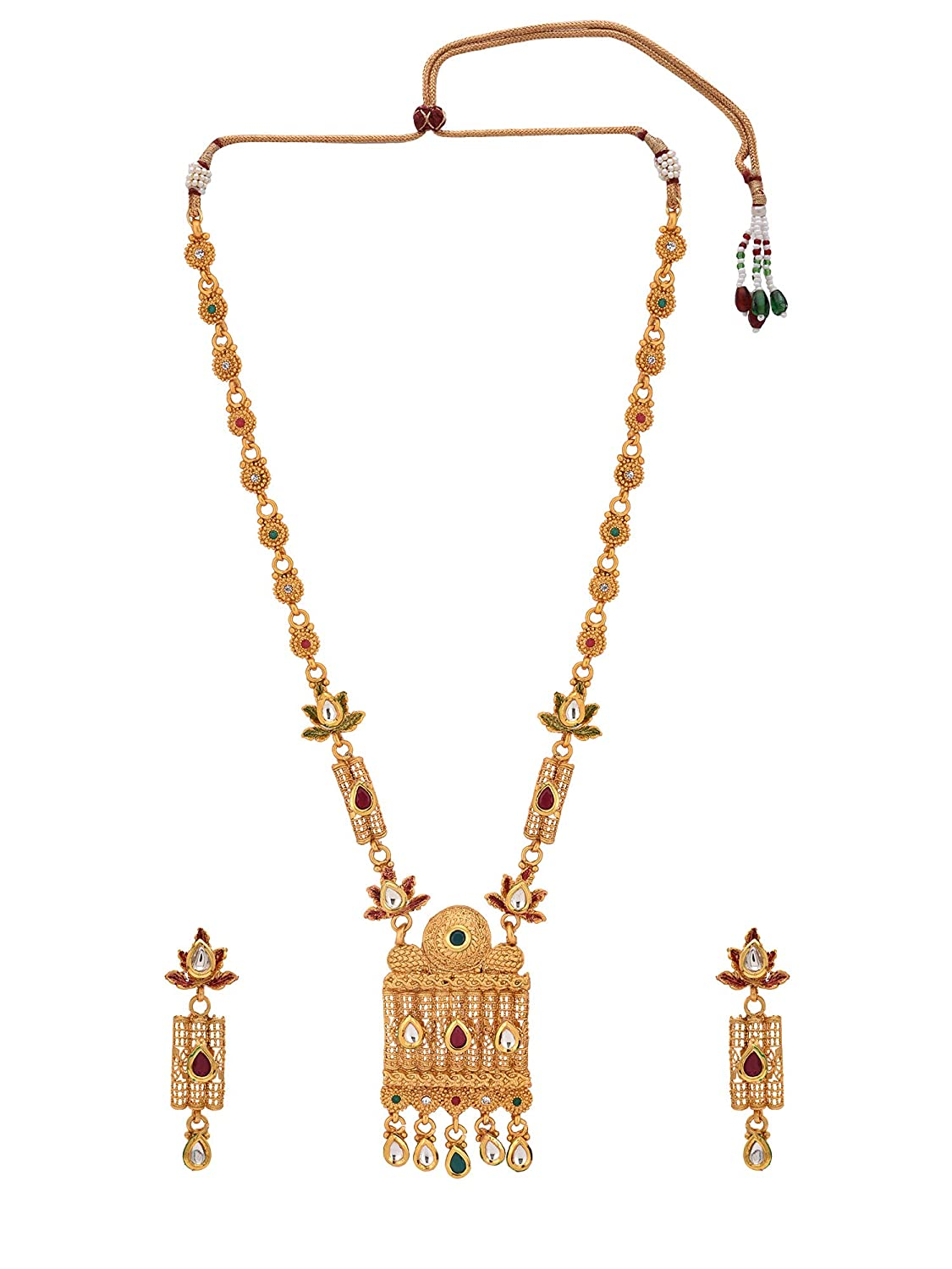 88f547ff401 Buy Pariza Red   Green Alloy Kundan Long Temple Necklace Set for Women  Online at Low Prices in India