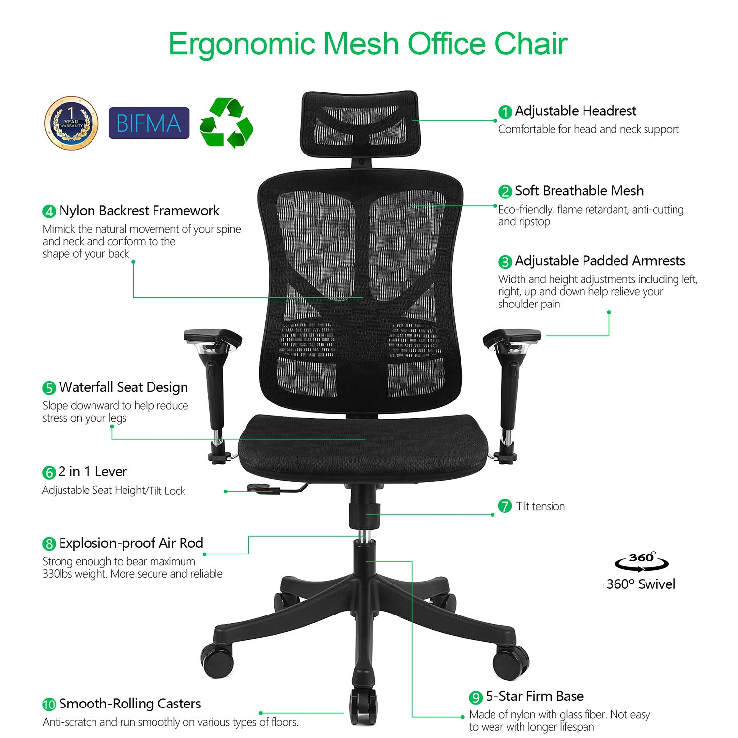 Amazon Com Argomax Ergonomic Mesh Office Chair High Back Swivel