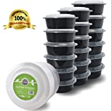 DuraHome - Meal Prep Containers with Lids - 32oz. BPA-Free 12 Pack, Made in USA, Round Microwaveable White (18, Black)