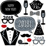 New Years Eve Party - Silver - 2018 New Year Party Decorations Photo Booth Props Kit - 20 Count