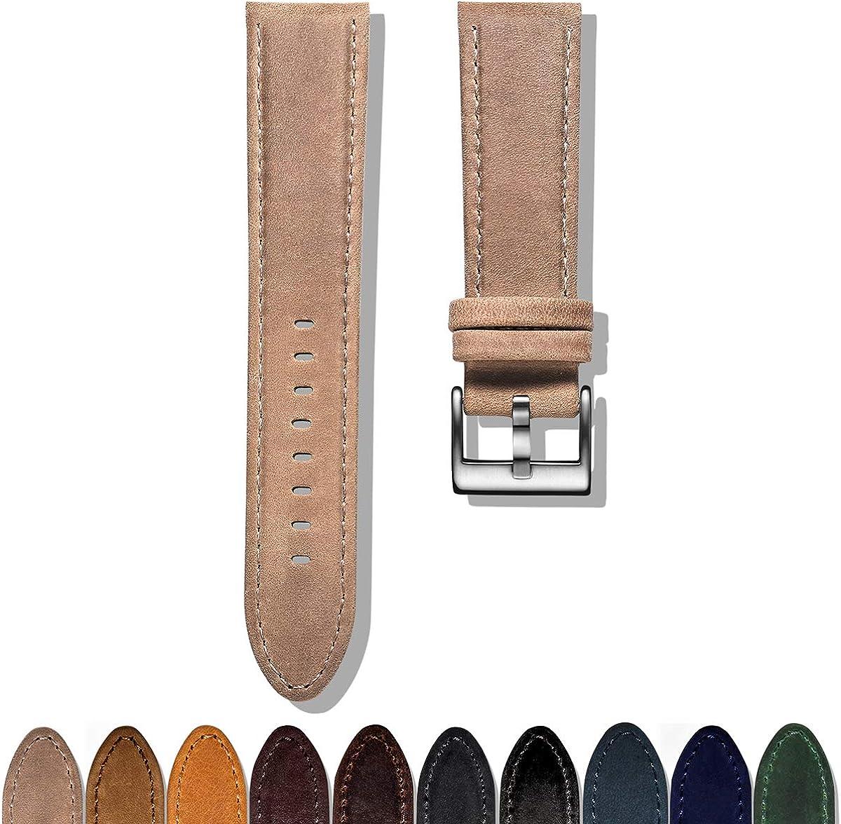 Montre en Cuir Bandes de Rechange à la Main Bracelet pour Hommes ou Women16mm 18mm 20 mm 22mm Quick Release Light Blue