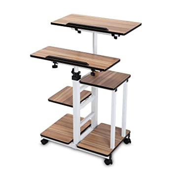 bureimobile height adjustable stand up desk computer work station rolling cart