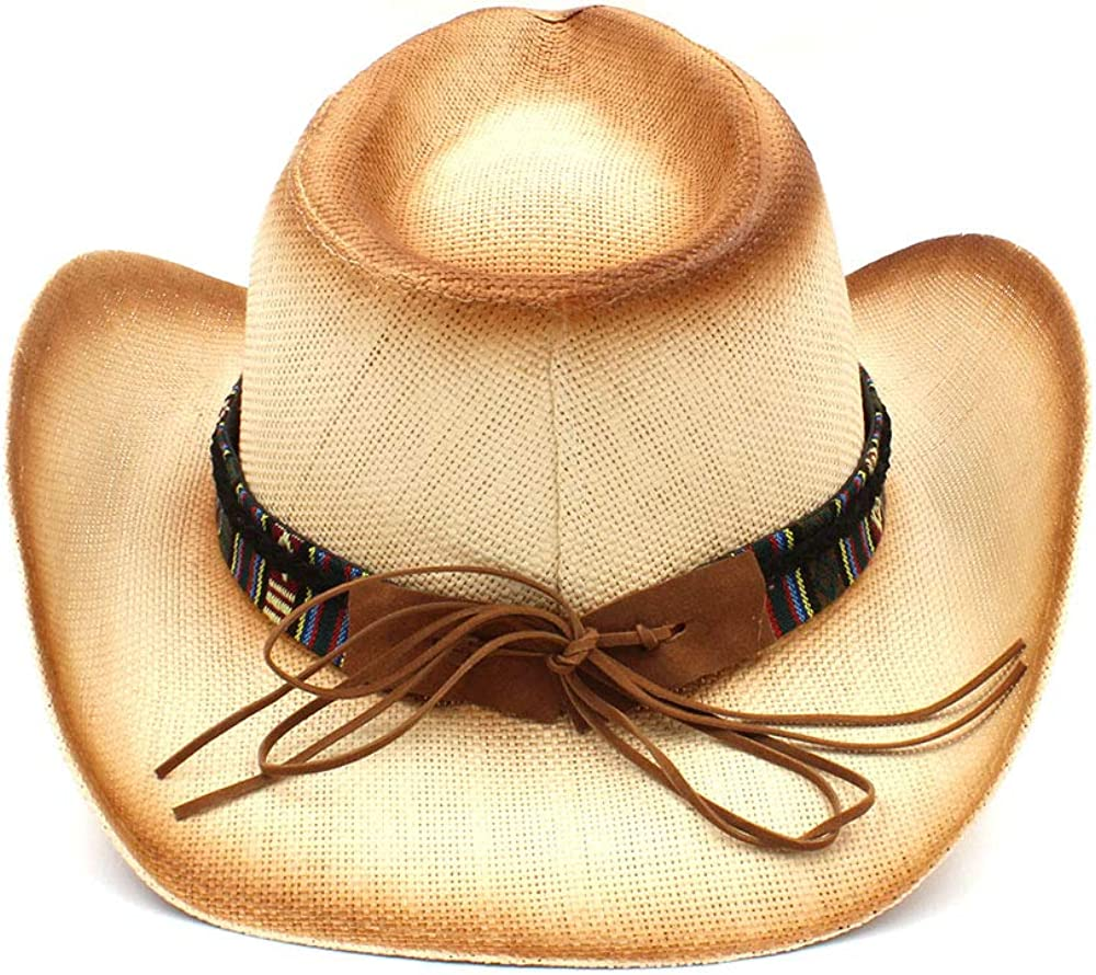 Hats Women Men Straw Cowboy Hat with Bohemian Bull Head Band for Lady Dad Western Sombrero Hombre Cowboy Hat Cowboy Hats