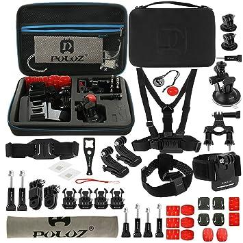 PULUZ GoPro Accesorios Kit Combo con EVA Case (correa de muñeca/correa de casco