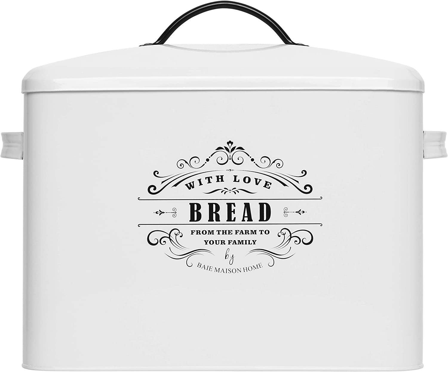 Extra Large White Bread box - Bread Boxes for Kitchen Counter Holds 2+ Loaves for All Your Bread Storage | Bread Container Counter Organizer to suit Farmhouse Kitchen Decor, Vintage Kitchen, Rustic