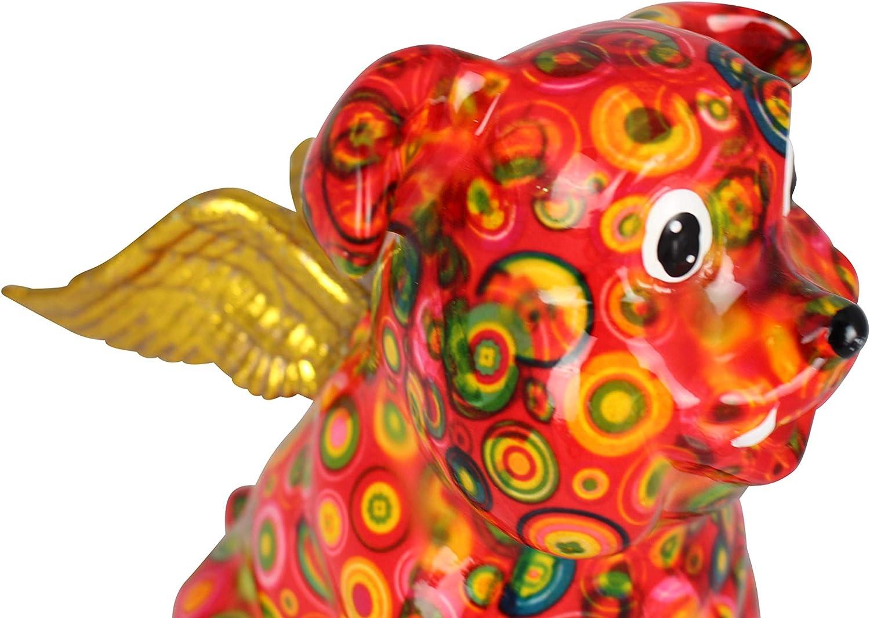 Tirelire en C/éramique Pomme Pidou Bouledogue Anglais Jack avec des Ailes 17.5x11x19 centim/ètre Motif Rouge avec des Cercles