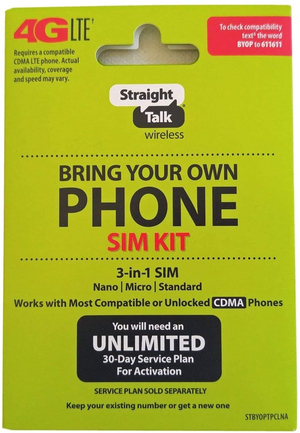 Straight Talk Verizon 4G LTE 3G CDMA Bring Your Own Phone Activation Kit 71RNIiYUjML