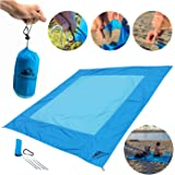 Beach Blanket with Travel Pouch - 7x7 Feet, as Large as a King Size Bed yet Not too Big for a Crowded Summer Beach - Compacts into a Small 4x7 inch bag - Sand Resistant, Wind Proof, Quick-Dry