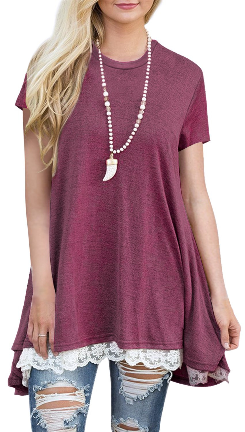 Womens Short Sleeve A-Line Flowy Tunic Tops Lace Trim Shirt Blouse 4X-Large Wine Red