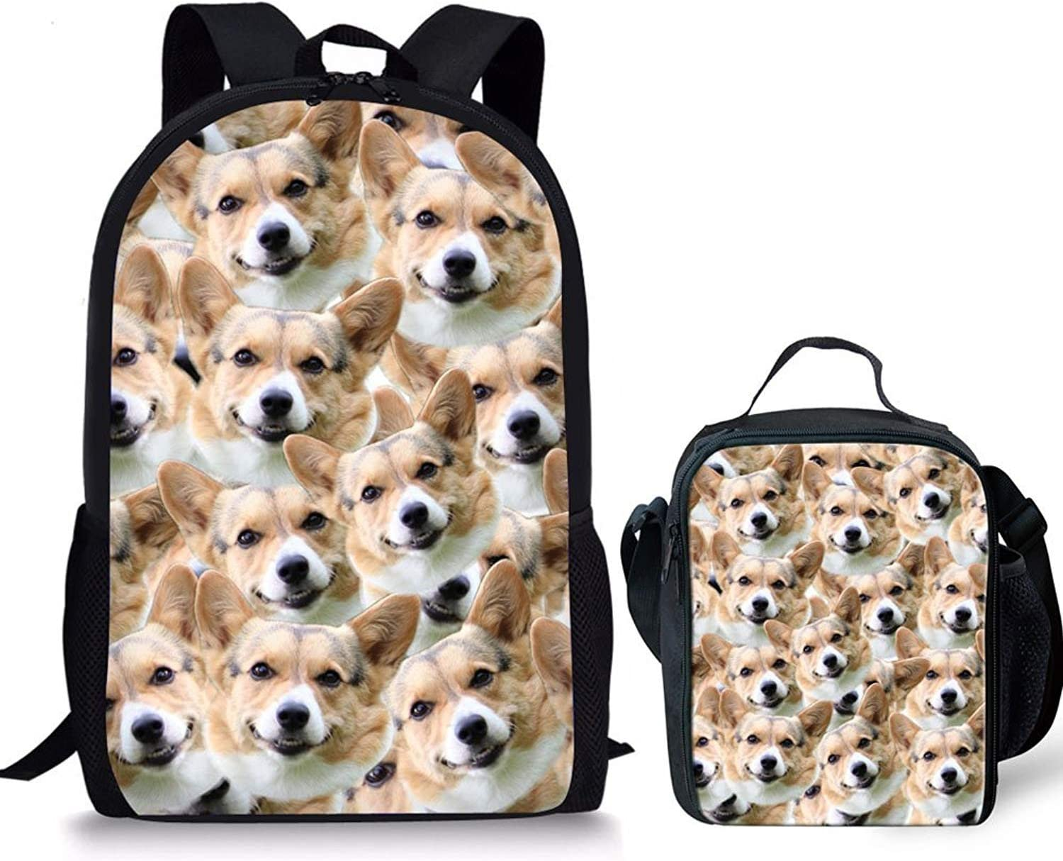 HUGS IDEA Cute Corgi Dogs Printing Backpack Children Book Bag and Lunch Box for Travel School