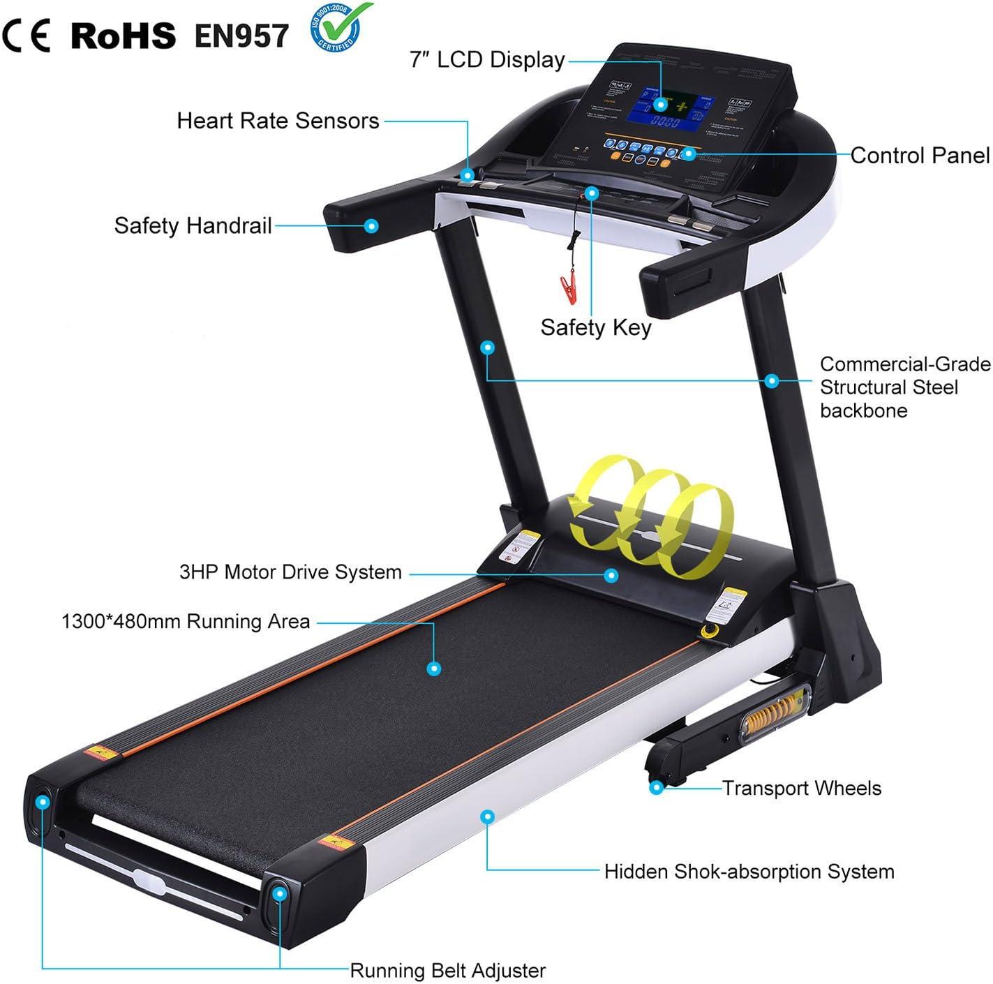 Cinta de Correr Electrica Plegable Grande con Pantalla Táctil LCD ...
