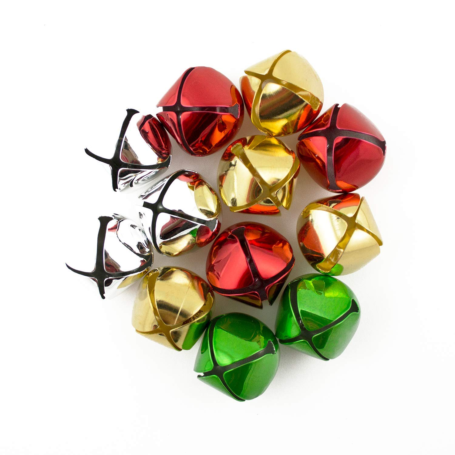 1 inch 25mm Gold Silver Red Green Mix Large Craft Jingle Bells Bulk 144 Pieces by Art Cove (Image #2)