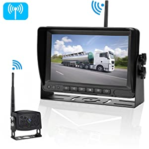 iStrong Digital Wireless Backup Camera System For RV/Truck/Trailer/5th Wheel/Motorhome Range 450 Foot no Flickers With 7'' Monitor Kit Rear View/Front View Camera IP69Waterproof