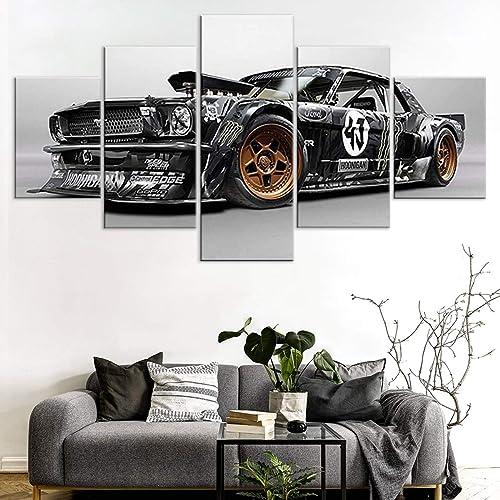 Ken Block Hoonicorn Mustang Hoonigan 5 Panel Canvas Print Wall Art Canvas Prints Art Work Panels Modern Set Gallery Bedroom Pictures HD Wall Decoration/Ken Block Car/Frame 40×60 40×80 40x100cm
