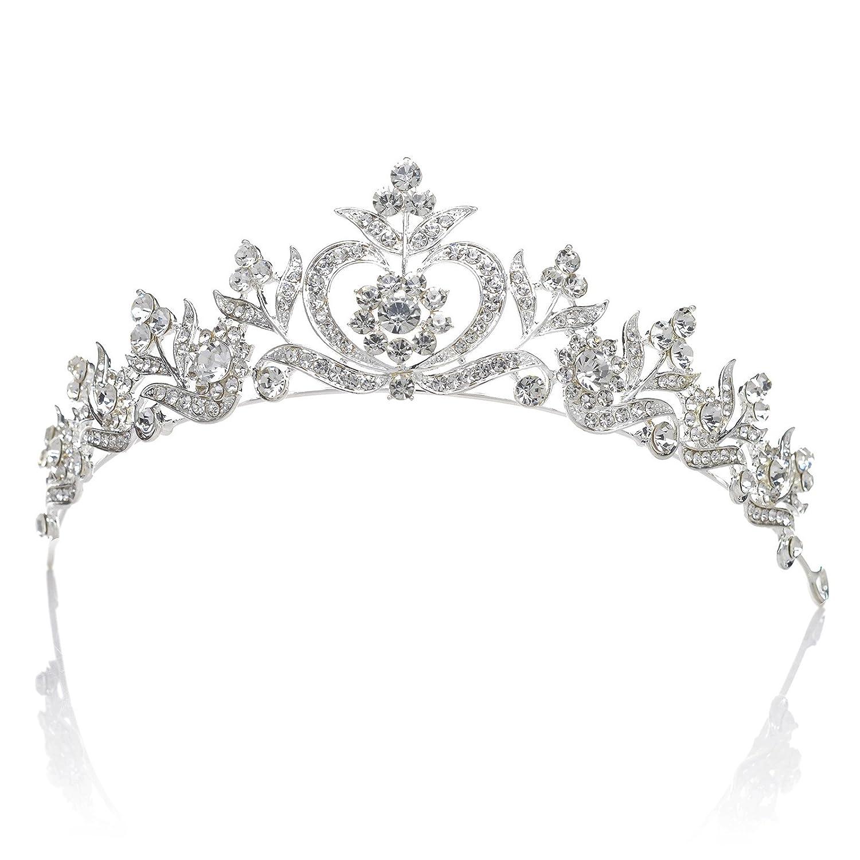 SWEETV Délicat Cristal Couronne de Princesse Mariage Tiare Diadème Nuptiale Accessoires de Coiffure, Argent SVDHG1639CP12