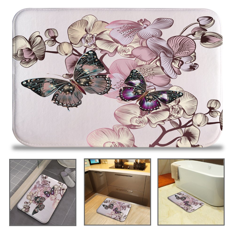 QIYI Bath Mat Rug Super Soft Non-Slip Machine Washable Quickly Drying Antibacterial for Office Door Mat,Kitchen Dining Living Hallway Bathroom 16'' W x 24'' L (40 x 60 cm) -Pink Butterflies