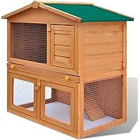 vidaXL Rabbit Hutch Cage Wooden 3 Door Pet Guinea Pig Chicken Coop Run House