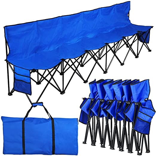 Amazon Com Yaheetech Portable Folding Bleacher Bench Folding Camping Chair Outdoor Team Sport Bench 6 Seaters Lightweight With Back Sidebags A Carry Bag Sports Outdoors