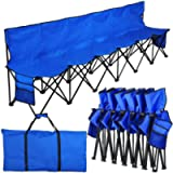 YAHEETECH 6 Seats Foldable Sideline Bench for Sports Team Camping Folding Bench Chairs Blue