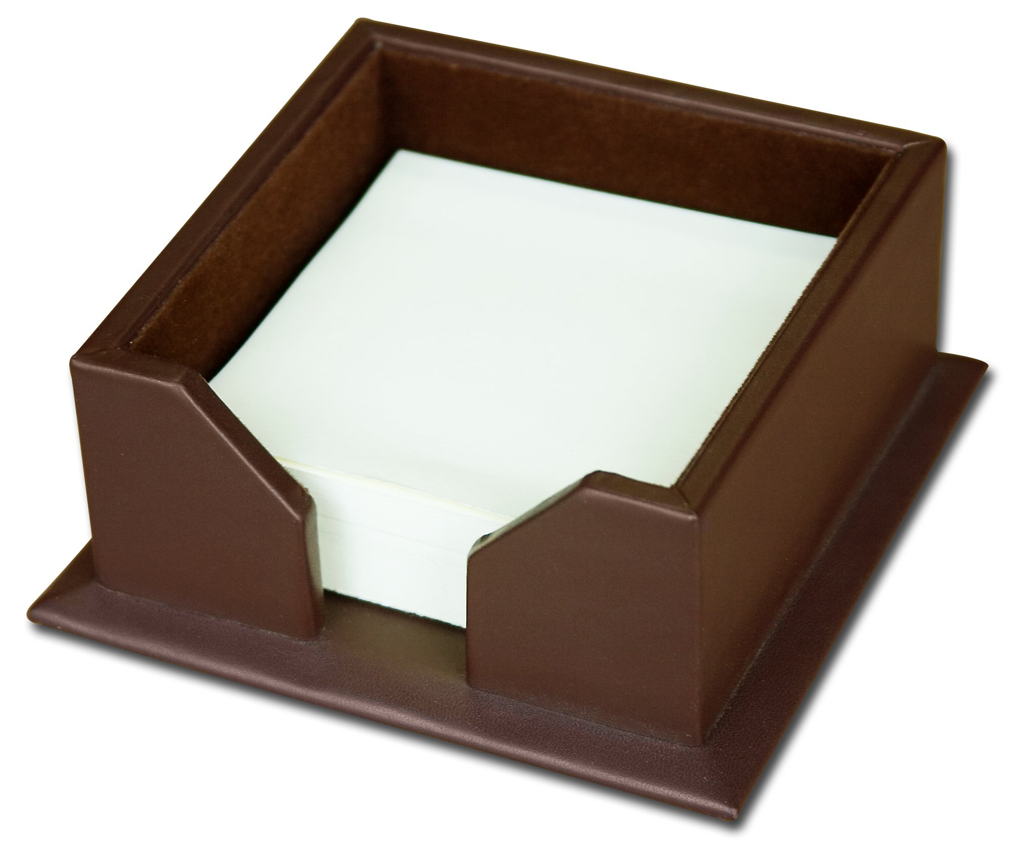 Dacasso Chocolate Brown Leather Note Holder, 3-Inch by 3-Inch