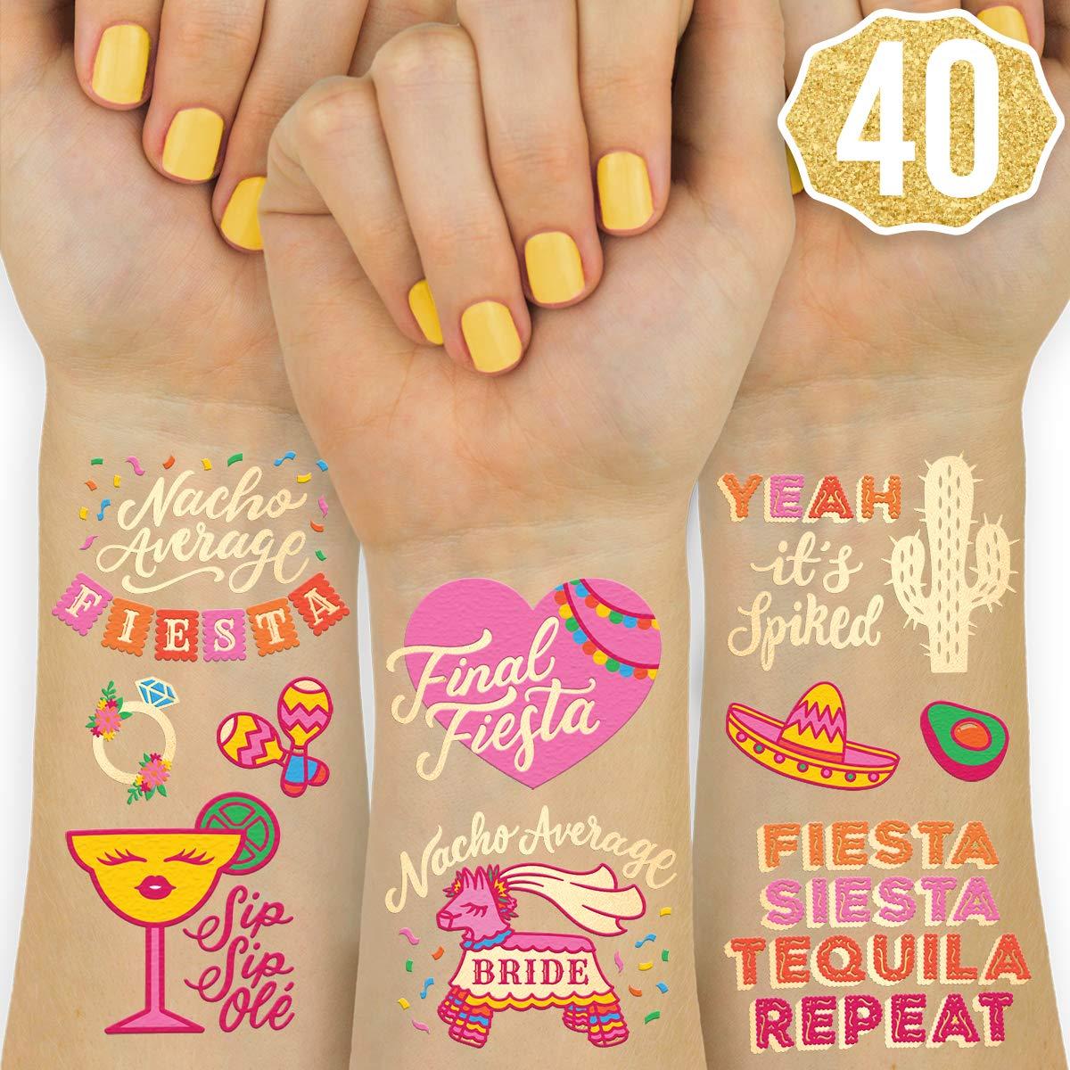 xo, Fetti Final Fiesta Bachelorette Tattoos - 40 styles | Bach Party Decorations, Nacho Average Bride