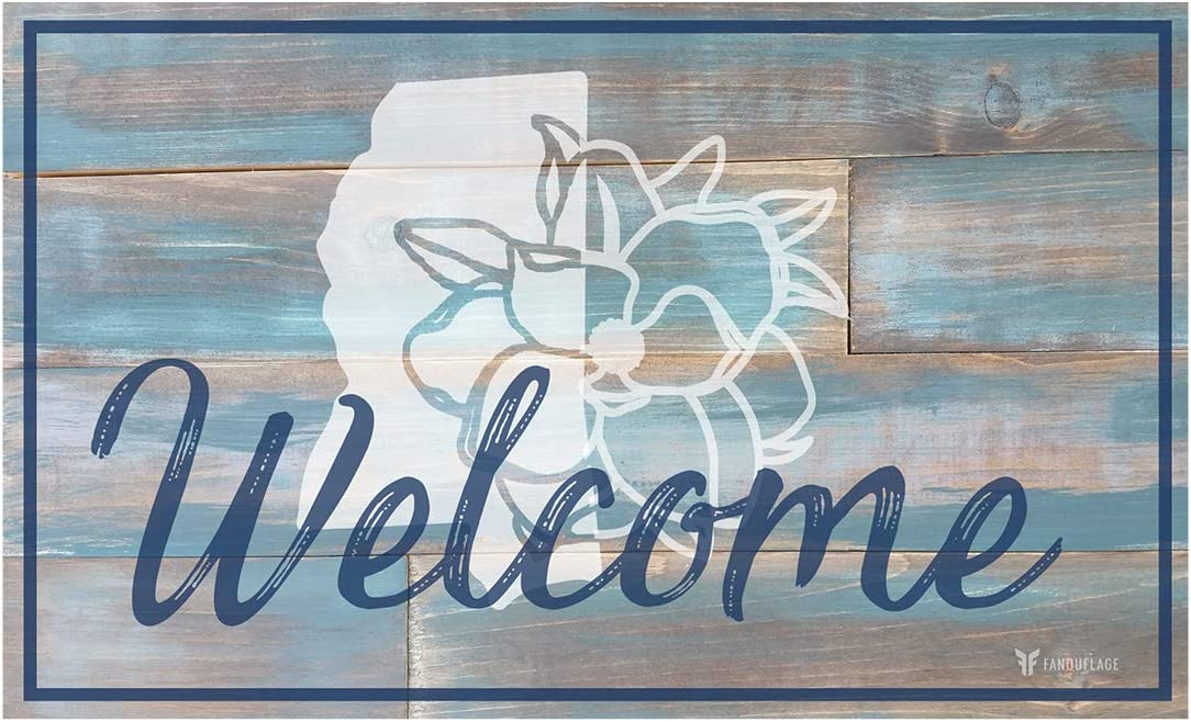 FANOUFLAGE Home State Welcome Mat State Icon Door Mat Home D cor Mississippi – Teal Wood