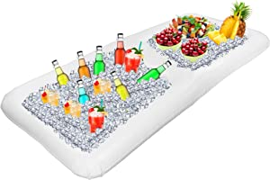Outdoor Inflatable Buffet Cooler Server - White Blow Up Cooling Tub With Divider For Serving Buffet Style Picnic