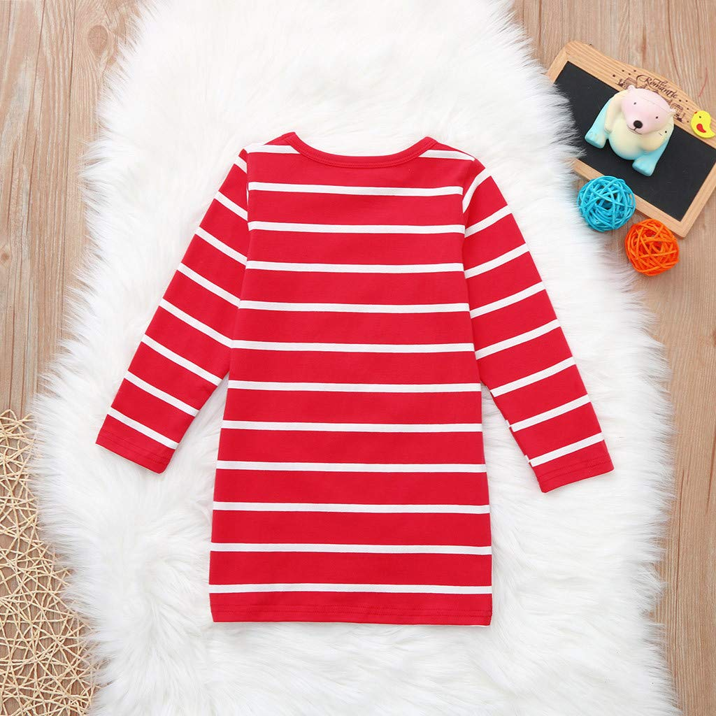 Weant Newborn Baby Clothing Suits Fashion Cute Xmas Long Sleeve Deer Stripe Princess Wedding Party Tulle Dress for Kids Toddler Infant Wedding Pageant Tutu Skirt Outfits Gifts Girls Dress Outfits