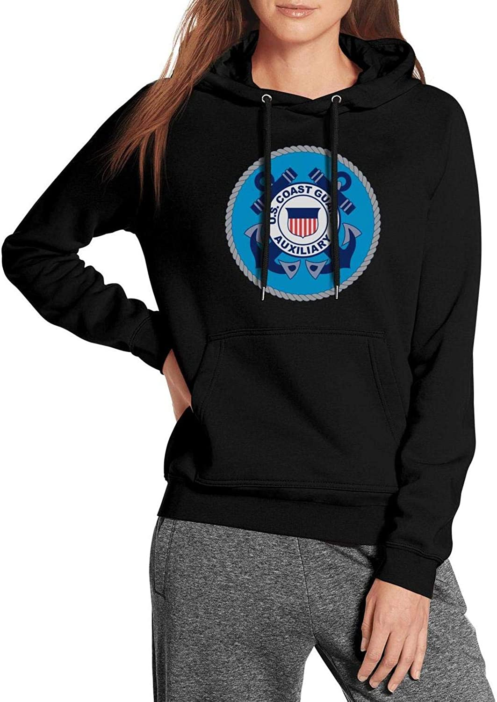 ZJING United States Coast Guard Auxiliary Womens Hoodie Loose Personalized Big Pockets Hoody Sweatshirt