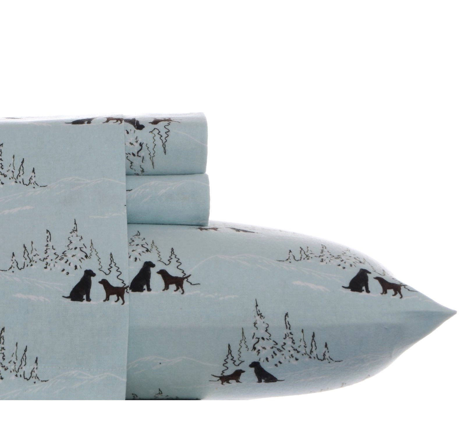 4 Piece Blue Dog Friends Theme Sheets King Set, Beautiful Pet Animal, Dog Lovers, Background Alpine Trees Print, Fully Elasticized Fitted, Deep Pocket, Cotton Flannel