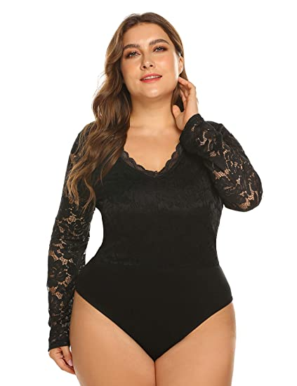 796fa50de694 IN VOLAND Women s Plus Size Sexy Party Lace Patchwork Romper Long Sleeve  Stretchy Jumpsuit Bodysuits