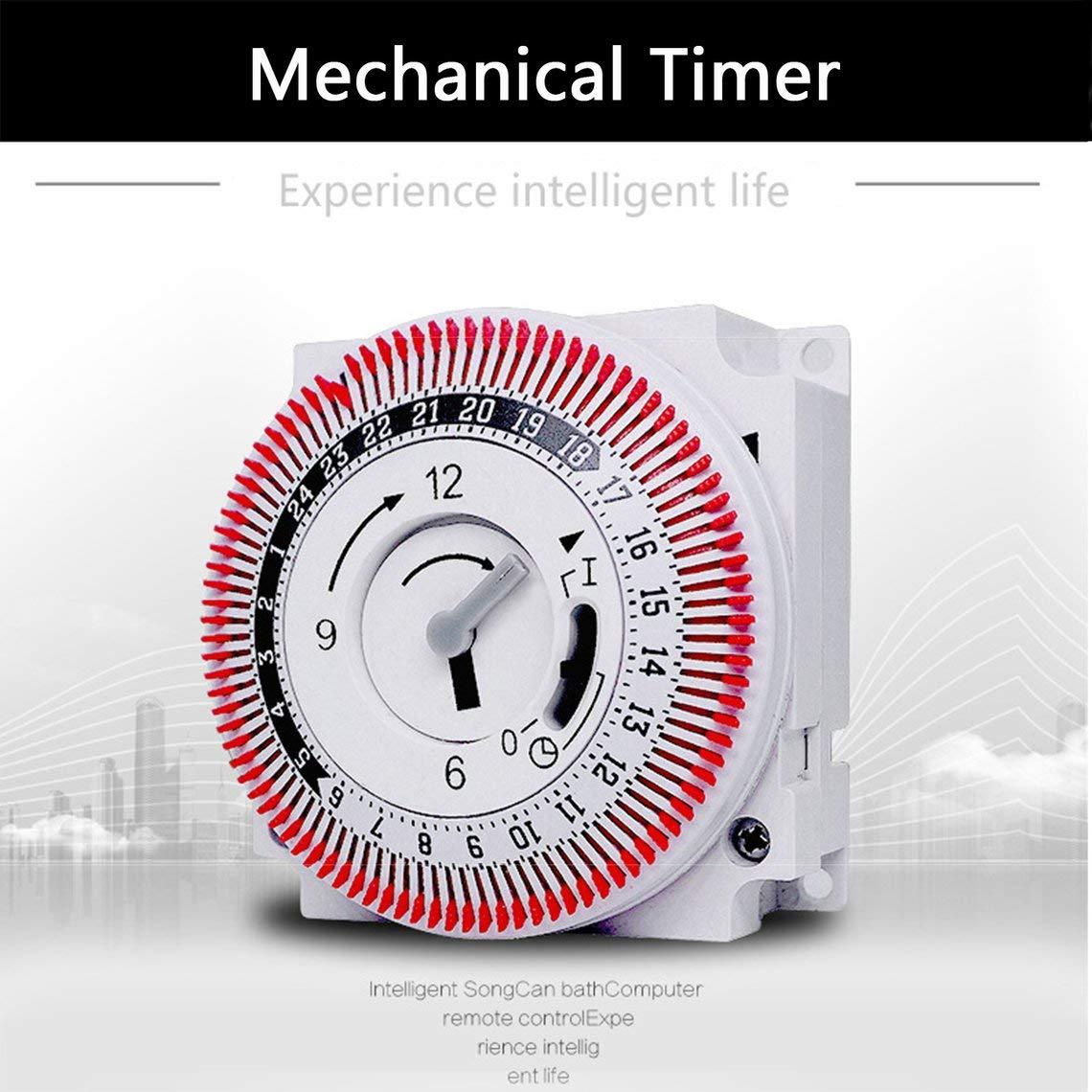 Zinniaya Temporizador mec/ánico 250 V Recordatorio del contador de tiempo 15min 24h Cocina Cuenta atr/ás Controlador de ahorro de energ/ía Interruptor de sincronizaci/ón industrial