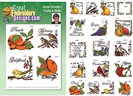 Amazon Fruit Birds By Joyce Drexler Embroidery Designs On A