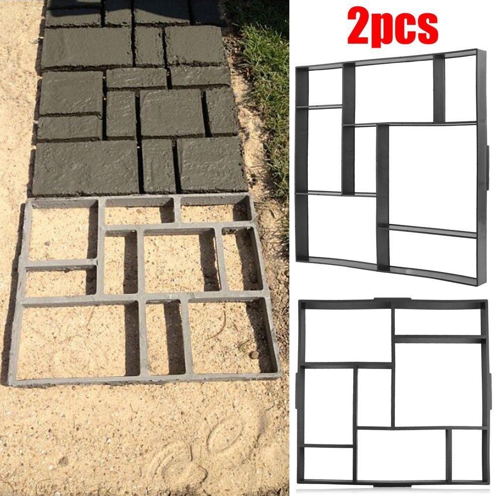 Blackpoolfa 2pcs Superior Reusable DIY Walk Maker Mold | 8 Grid PP Resin Garden Lawn Walking Path Stepping Stone/Concrete Mold Paver (8 Grid -2pack)