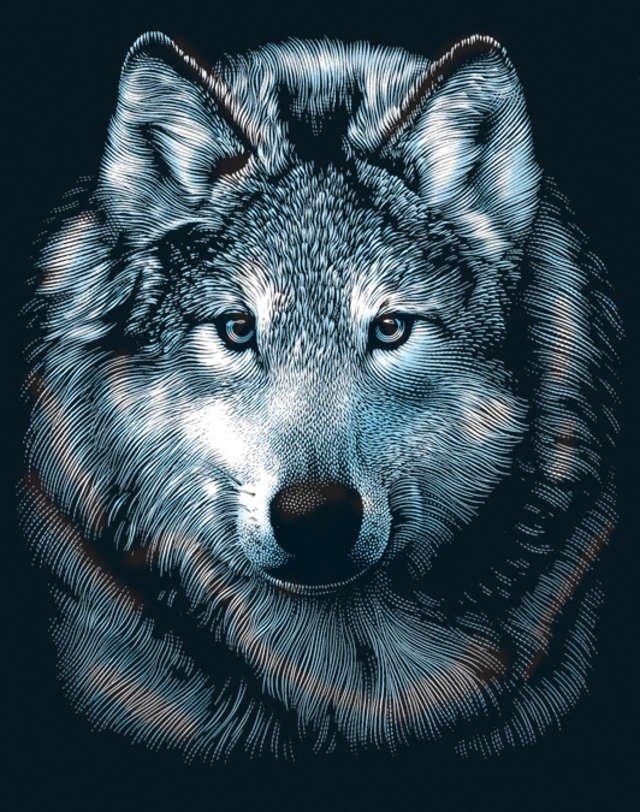 Reeves Wolves Scraperfoil Artwork, Silver