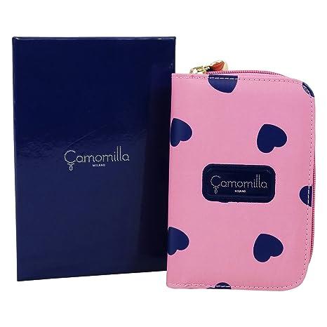 Camomilla Milano Luxury Corazones Billetera con botòn metàlico Cartera por Mujer Rosa