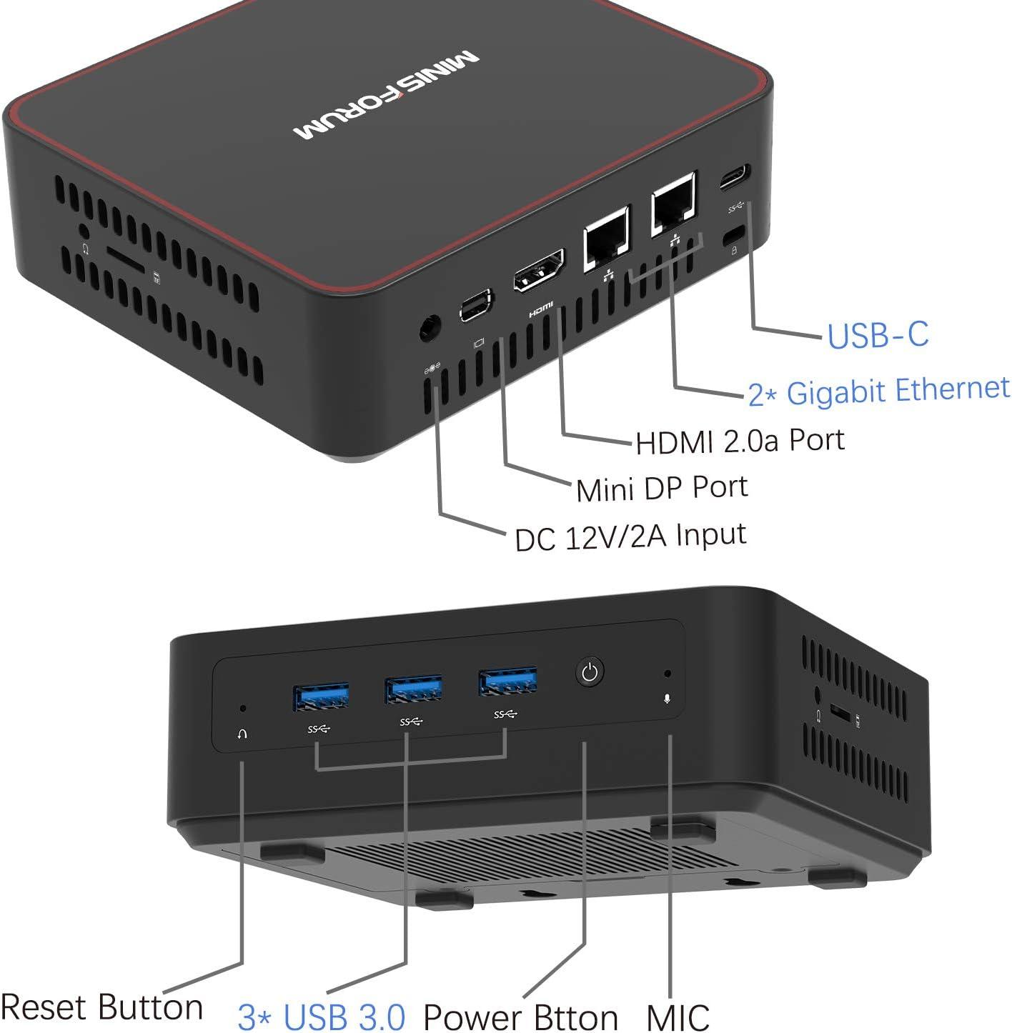 2 x Ethernet Port 3 x USB 3.0 Expandable 8GB DDR3L 1600 SODIMM 128GB SSD HDMI//Mini DP//USB-C 4K@60Hz Output Linux and Chromium OS U500-H Mini PC Intel Core i3-5005U Mini Computer Windows 10 Pro