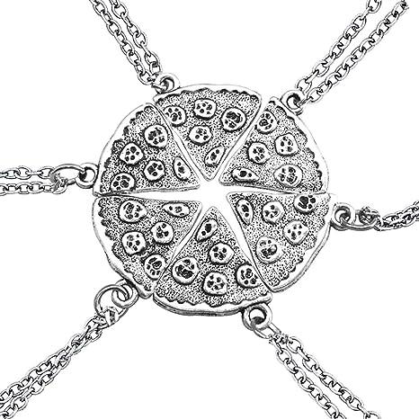 0d24e9029598 Un conjunto de collares de plata con forma de pizza paquete de seis collares  par Amistad