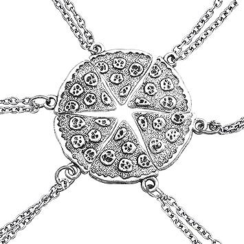 cffc613e3a83 Un conjunto de collares de plata con forma de pizza paquete de seis  collares par Amistad
