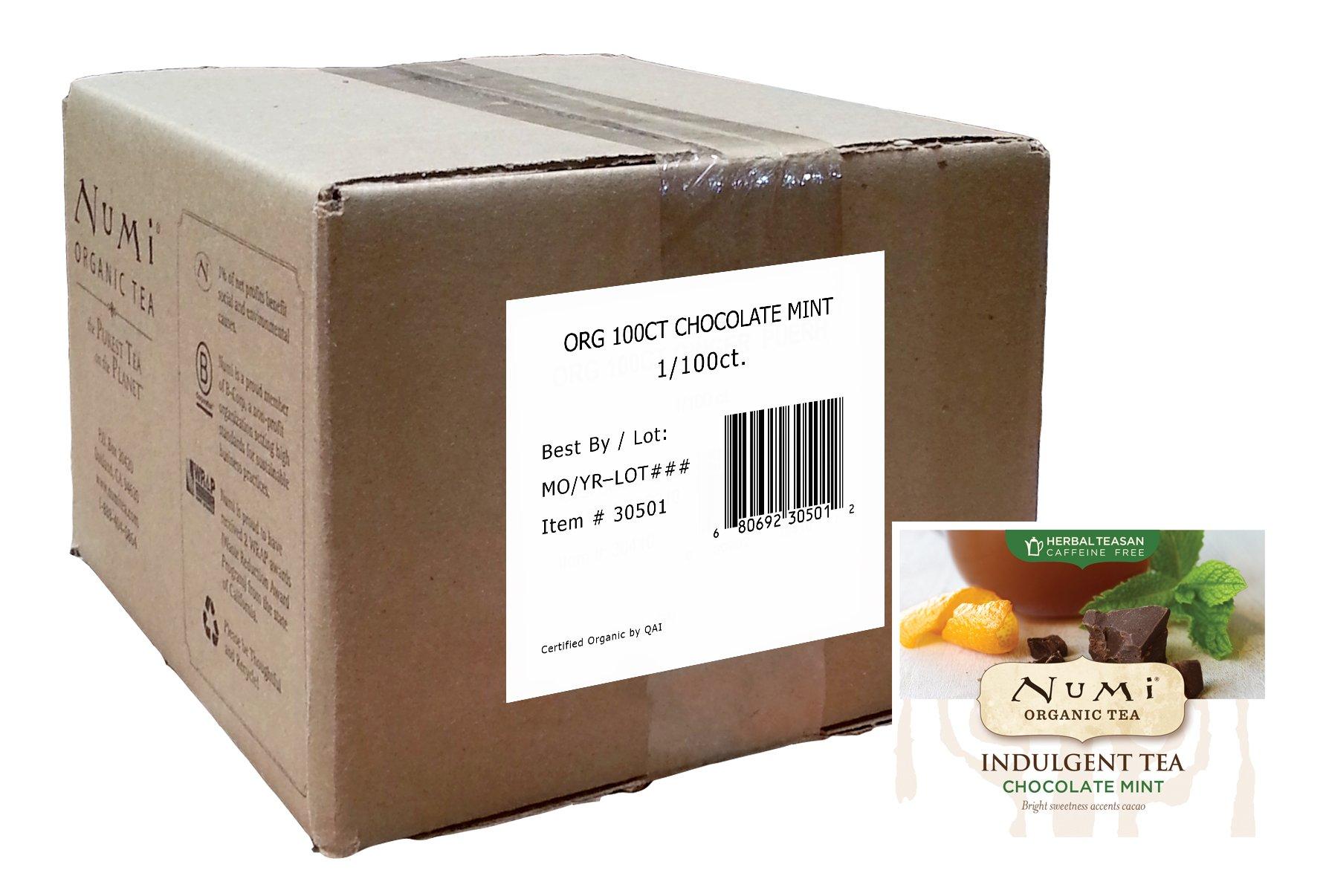 Numi Organic Indulgent Tea, Chocolate Mint, 100 Count Bulk non-GMO Tea Bags by Numi Organic Tea