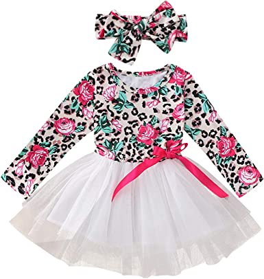 Newborn Kids Baby Girls Long Sleeve Flower Tulle Tutu Skirts Dresses Clothes Set