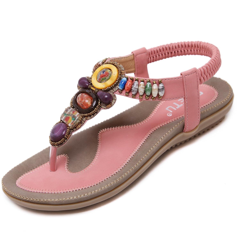katliu Damen Sommer Sandalen Bouml;hmische Zehentrenner Sommerschuhe Frauen Flach Outdoor Schuhe  37 EU|Rose