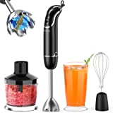 KOIOS 800-Watt/ 12-Speed Immersion Hand Blender(Titanium Reinforced), Turbo for Finer Results, 4-in-1 Set Includes BPA-Free F