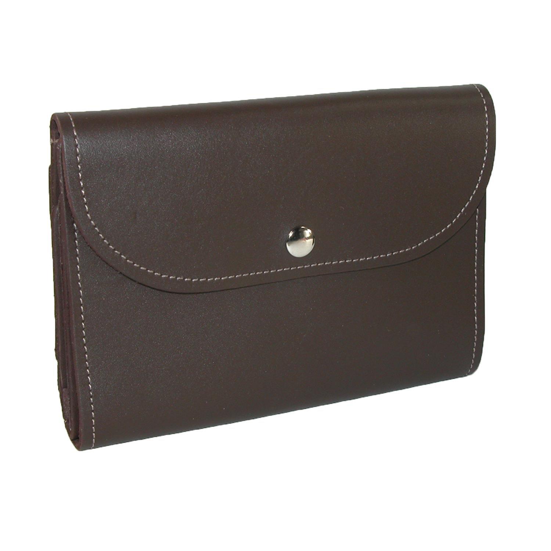 CTM Leather Deluxe Top Stub Checkbook Wallet, Brown