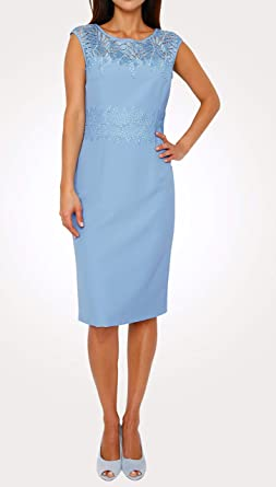 Mn markowa sukienka z kwiatową koronką niebieska rozm. 46 (23) 0119544920 - Koktajl niebieski: Odzież