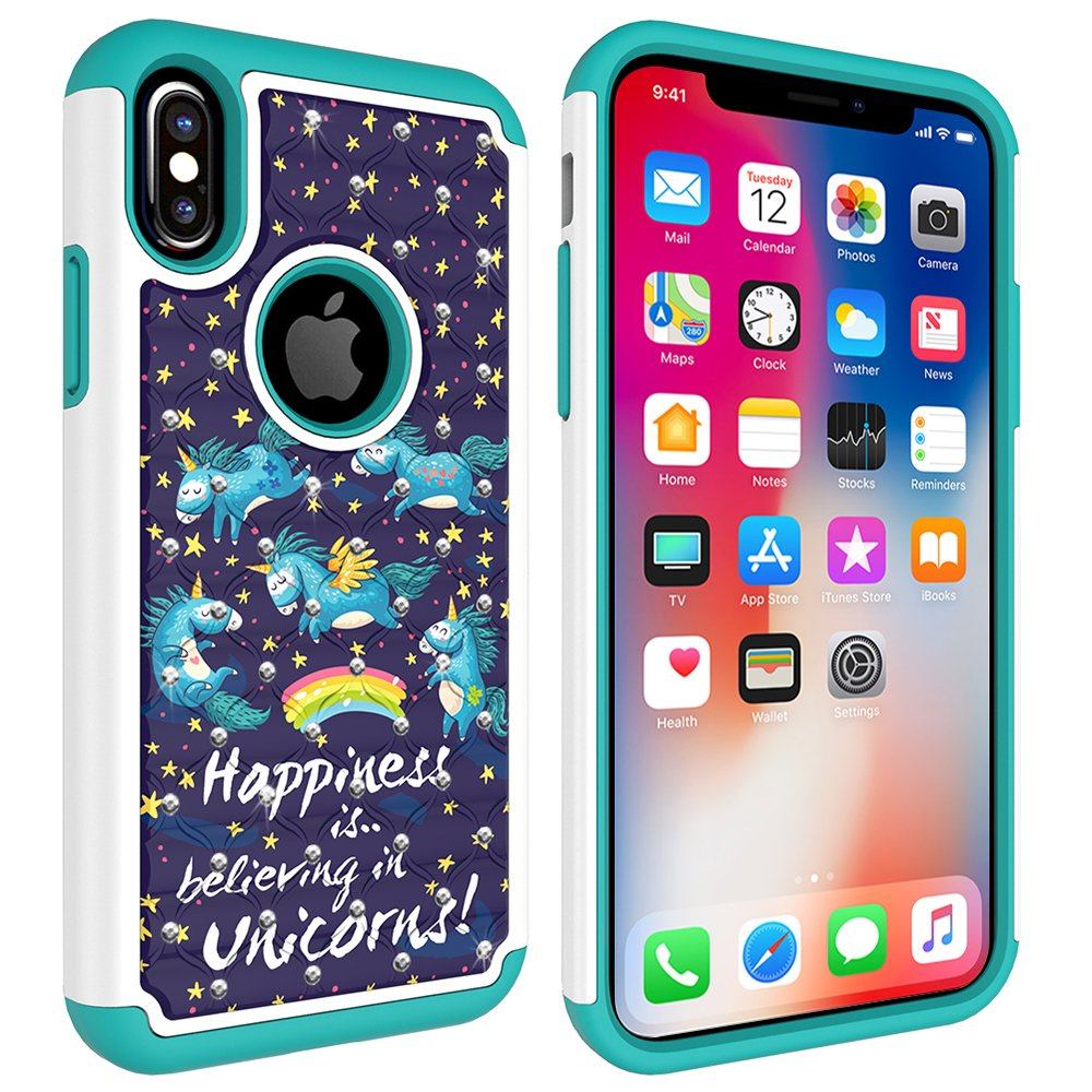 iPhone X Case, MagicSky [Shock Absorption] Studded Rhinestone Bling Hybrid Dual Layer Armor Defender Protective Case Cover for Apple iPhoneX - Unicorns