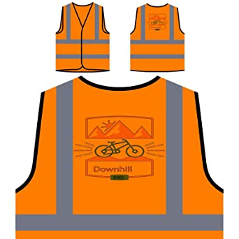 Bicicleta De Descenso En Bicicleta Chaqueta de seguridad naranja ...
