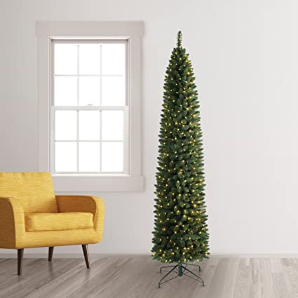 Pencil Christmas Tree.Treetopia No 2 Pencil Artificial Christmas Tree 9 Feet Clear Led Lights