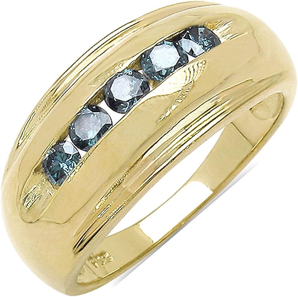 Goldancé - Anillo de mujer - plata esterlina 925 bañada en oro - auténtico piedras preciosas: Blue Diamond ca. 0.52ct. - R2027BLD_SS/14K